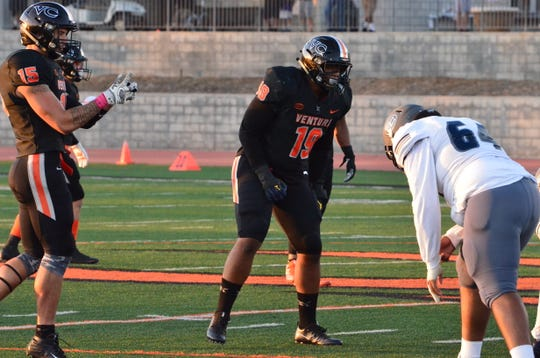 Former Grace Brethren High defensive end Dassani Freeman (19) has started six games for the Ventura College defensive line as a sophomore.