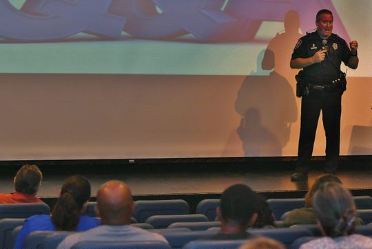 Youth Services Ofiicer Jason Logas  answers parents' questions around teen vaping at an Oct. 24 community forum held with Visalia Unified, the Tulare County Office of Education and the California Health Collaborative.