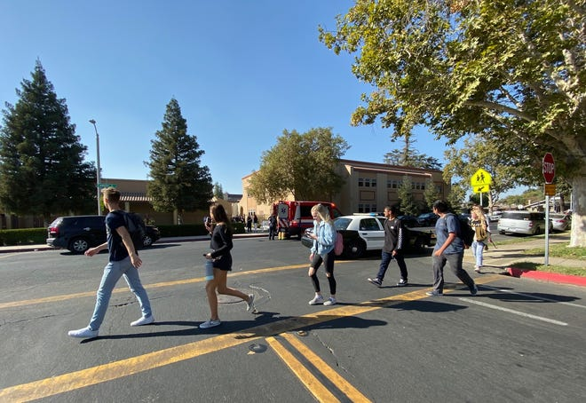 A Ford F-250 slammed into a Chevrolet near Redwood High School on Friday, Oct. 25, 2019.