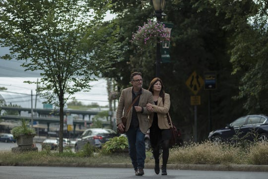 "Actors Andy Garcia and Catherine Keener walking in Hastings in a scene from Amazon Prime's 'Modern Love."" You can see Hastings train station in the background"