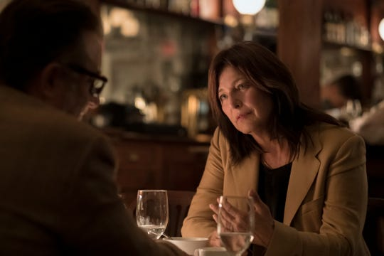 "Actress Catherine Keener with Andy Garcia at St. George Bistro in Hastings. The scene was shot there as part of Season One of Amazon Prime's ""Modern Love."""