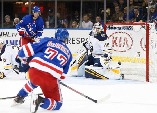 Oct 24, 2019; New York, NY, USA; New York Rangers defenseman Tony DeAngelo (77) scores a goal against Buffalo Sabres goaltender Carter Hutton (40) during the second period at Madison Square Garden. Mandatory Credit: Andy Marlin-USA TODAY Sports