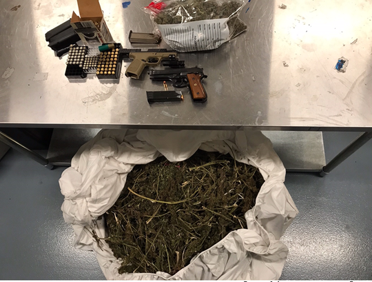 A Thursday drug bust yielded 22 pounds of marijuana, two guns and hundreds of rounds of ammunition, Delaware State Police said.