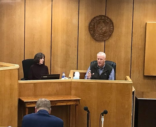 State Rep. James Frank, R-Wichita Falls, testifies in a trade secrets lawsuit that his company filed against a Georgia firm in 78th District Court on Friday, Oct. 25, 2019.
