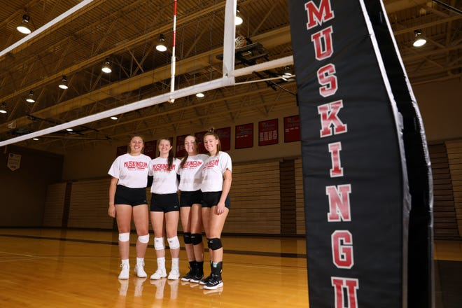 Sheridan grad Emma Conrad, left, and John Glenn products Erin Dickson, Brooke Fatheree and Maddie McGee were vital cogs to Muskingum's volleyball success last season. The Ohio Athletic Conference announced on Friday that volleyball is among the fall sports being postponed due to COVID-19.