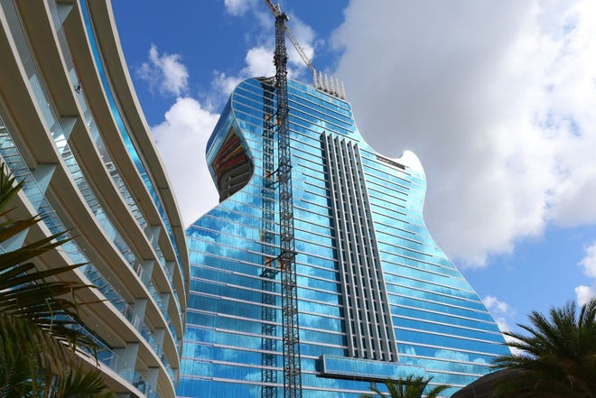 The guitar hotel is shown during construction.