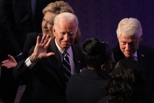 BALTIMORE, MARYLAND - OCTOBER 25: Former first lady Hillary Clinton, former Vice President Joe Biden and former President Bill Clinton arrive at the funeral service for Rep. Elijah Cummings (D-MD) at New Psalmist Baptist Church on October 25, 2019 in Baltimore, Maryland. A sharecroppers son who rose to become a civil rights champion and the chairman of the powerful House Oversight and Government Reform Committee, Cummings died last week of complications from longstanding health problems. (Photo by Chip Somodevilla/Getty Images) ORG XMIT: 775424122 ORIG FILE ID: 1183376716