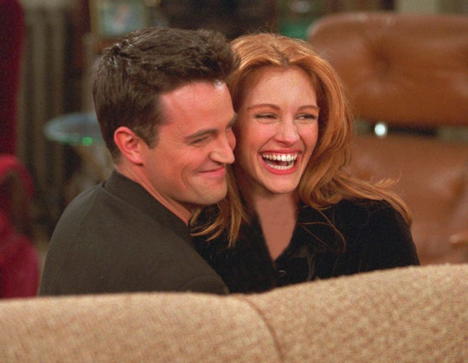 "Not that hugely popular ""Friends"" needed much help, but Julia Roberts, right, seen with series star Matthew Perry, provided guest-star luster to a 1996 episode that drew more than 52 million viewers, the biggest audience for a post-Super Bowl program."