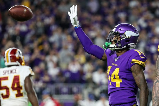 Minnesota Vikings wide receiver Stefon Diggs celebrates a catch during the second quarter against the Washington Redskins at U.S. Bank Stadium.