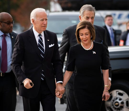10/25/19 9:29:44 AM -- Baltimore, MD, U.S.A  -- Former Vice-President Joe Biden walks with U.S. House Speaker Nancy Pelosi as they enter the funeral of Rep. Elijah Cummings, D-Md at the New Psalmist Baptist Church in Baltimore.  