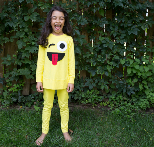 Turn a yellow shirt into an emoji costume.