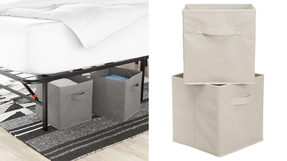 The sewn-in handle makes these containers easy to pull out of the closet.