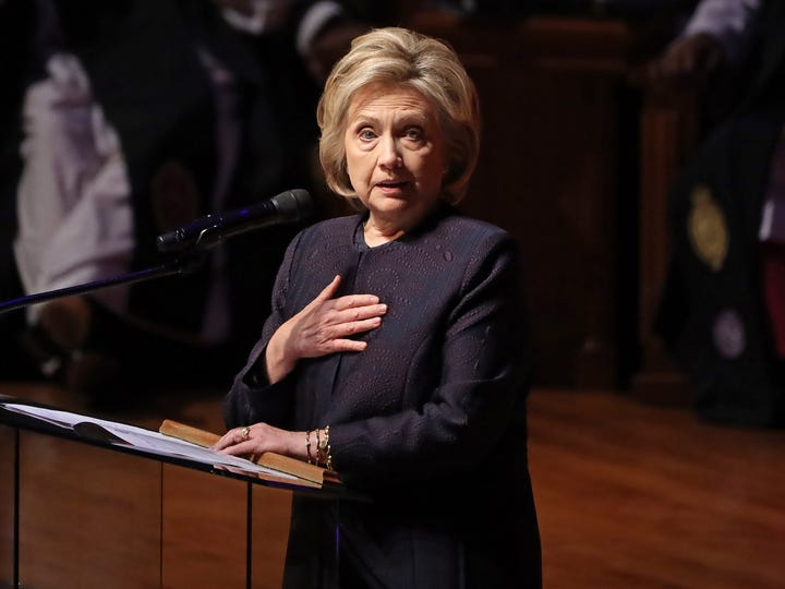 Former first lady and Secretary of State Hillary Clinton delivers remarks during the funeral service for Rep. Elijah Cummings. D-Md., at New Psalmist Baptist Church on Oct. 25, 2019. in Baltimore, Maryland. A sharecropper's son who rose to become a civil rights champion and the chairman of the powerful House Oversight and Government Reform Committee, Cummings died last week of complications from longstanding health problems.