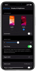 The new Dark Mode feature lets you switch to text and images that's easier to read in dim environments, or have the iPhone switch automatically.