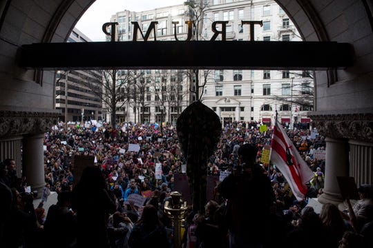 Demonstrators gathered outside the Trump Hotel International in Washington, D.C., during a January 2017 protest of an executive order barring the citizens of Muslim-majority countries Iraq, Syria, Iran, Sudan, Libya, Somalia and Yemen from traveling to the United States.