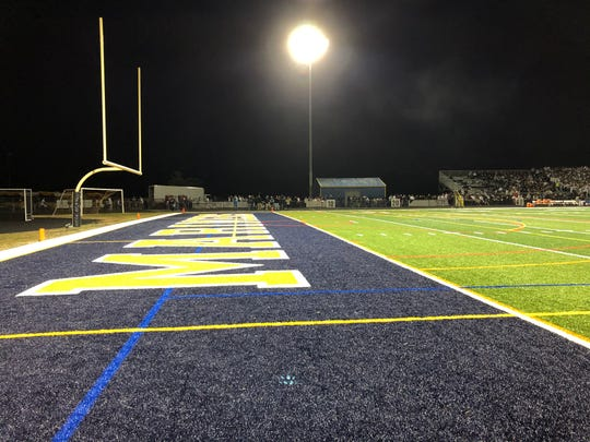 Gernerd Field, the home of Toms River North football, got new turf this season. On this night, the Mariners defeated Toms River East, 47-20, on Oct. 25, 2019 in a rivalry game.
