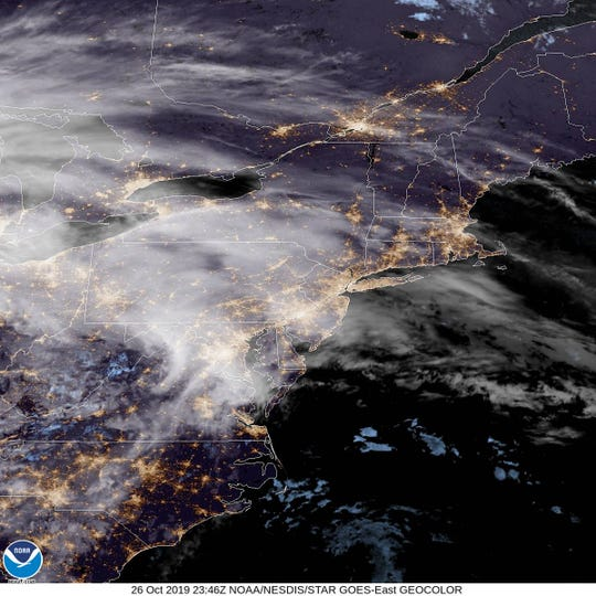 A satellite image of New Jersey and much of the Eastern Seaboard on Saturday night.