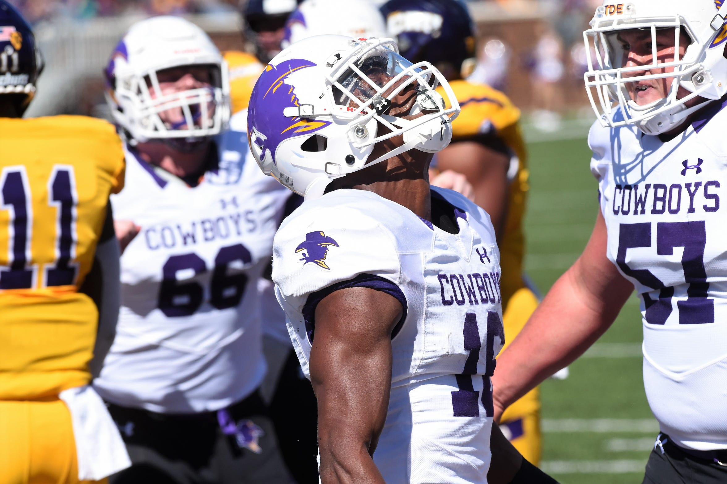 HSU running back Jaquan Hemphill celebrates scoring a touchdown at Mary Hardin-Baylor during the 2019 season. Hemphill broke six school records this past season including rushing yards in a game, career rushing touchdowns, career touchdowns, rushing attempts in a game, points in a career and longest rush.