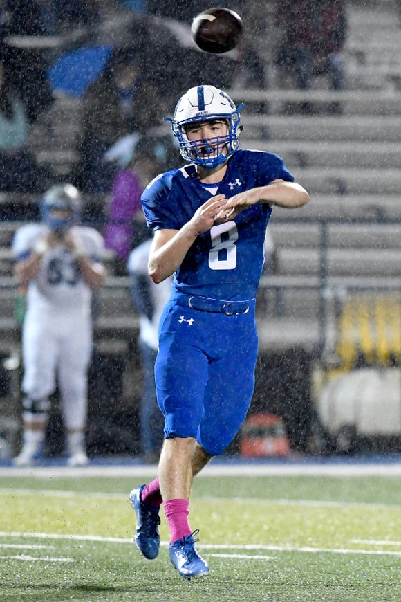Brevard quarterback Baxter Swicegood throws a pass during their game against Smoky Mountain at Brevard High School on Oct. 25, 2019.