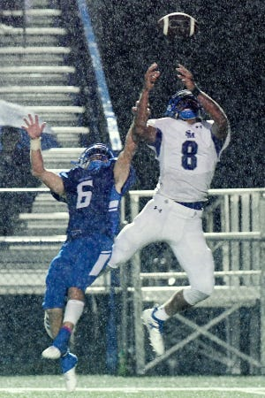 Brevard's Tripp Harris goes after an incomplete pass intended for Smoky Mountain's Darien Bird during their game at Brevard High School on Oct. 25, 2019.