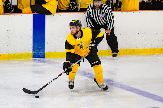 Battle Creek's Vincent Susi handles the puck in Federal Prospects Hockey League action. Susi would score the first goal ever for the franchise during the season opener for the Rumble Bees on Friday at The Rink.