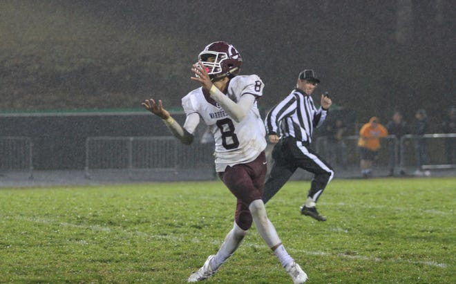 Owen senior Fred Graves hauls in a touchdown reception against Mountain Heritage, Oct. 25. The Warhorses fell to the Cougars, 22-15, in the final minutes of the game.