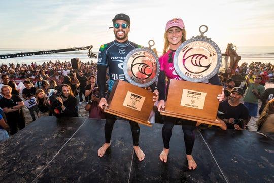 Italo Ferreira of Brazil and Caroline Marks of the United States win the 2019 MEO Rip Curl Pro Portugal in Peniche, Portugal.