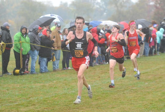 Mansfield Christian's Clay Reynolds sprints down the homestretch of the D-II regional meet.
