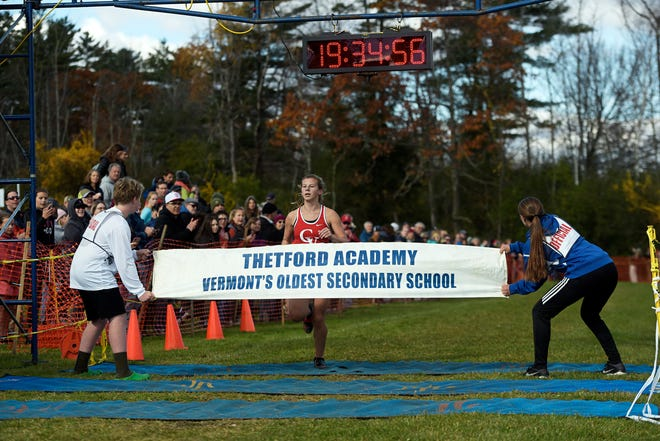 CVU's Alicia Veronneau wins the the Division I title in a time of 19:33.9 at the Vermont State Cross Country Meet at Thetford Academy on Saturday, Oct. 26, 2019. Veronneau also led the Redhawks to the D-I team title over runner up Essex, 21-60.