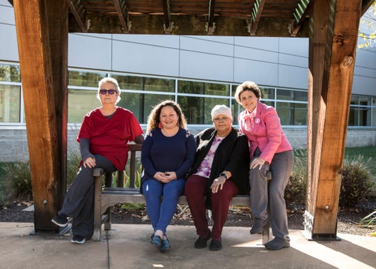 (L-R) Penny Hutchison, Laura Potter, Linda Kelley, and Brenda Burgett are Adena cancer patients who are in various stages of their treatment and recovery.