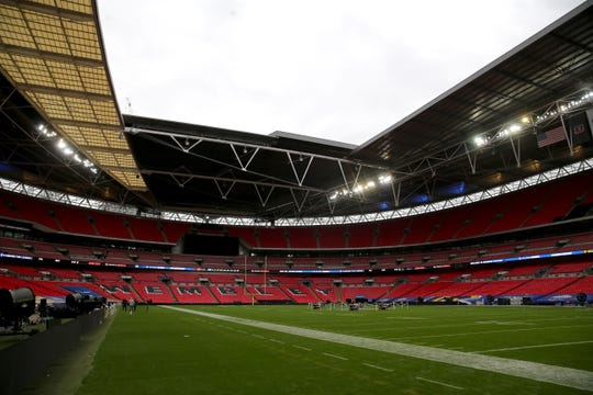 General view of the field ahead of the NFL International Series game between the Cincinnati Bengals and the Los Angeles Rams, Saturday, Oct. 26, 2019, at Wembley Stadium in London, England.