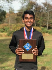 South Brunswick's Vidhur Polam after winning the 2019 GMC cross country championship
