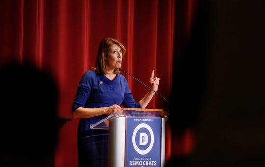Congresswoman Cindy Axne (D-3rd Dist.) spoke to Drake University students and Iowa Democrats on Saturday, Oct. 26, 2019, at Sheslow Auditorium in Des Moines.