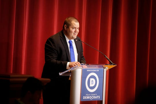 Sean Bagniewski, chair of the Polk County Democratic Party, introduces House speaker Nancy Pelosi on Saturday, Oct. 26, 2019, at Sheslow Auditorium in Des Moines.