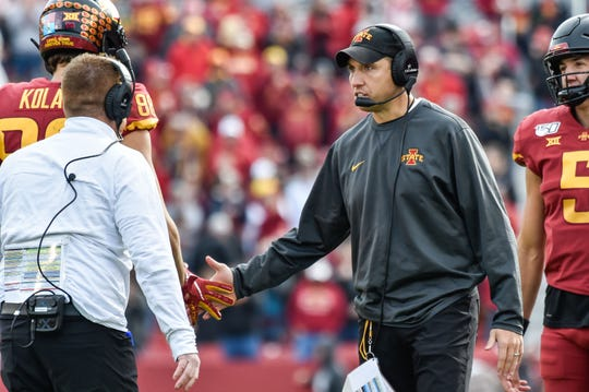 Iowa State coach Matt Campbell reacts with tight end Charlie Kolar (88) after Kolar caught a touchdown pass during the second quarter at Jack Trice Stadium on Saturday, Oct. 26, 2019, in Ames.