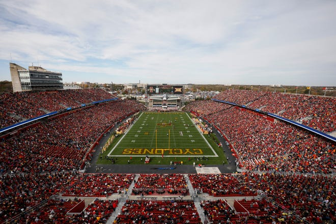 Iowa State plays Oklahoma State at Jack Trice Stadium during the first half of an NCAA college football game, Saturday, Oct. 26, 2019, in Ames, Iowa.
