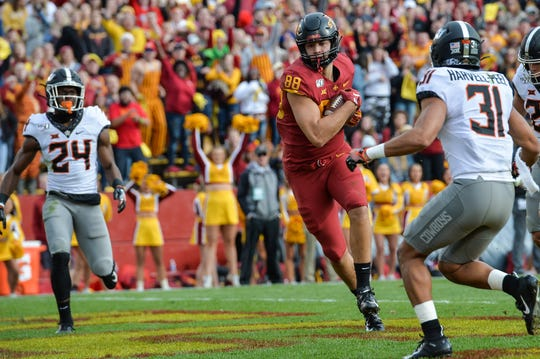 Iowa State tight end Charlie Kolar (88) catches an 18 yard touchdown pass from quarterback Brock Purdy last month.
