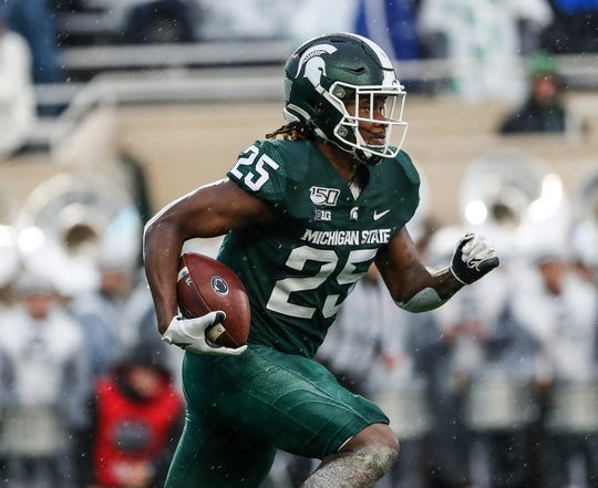 Michigan State kick returns Darrell Stewart Jr. (25) runs against Penn State during the first half at Spartan Stadium in East Lansing, Saturday, October 26, 2019.