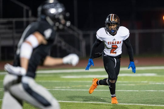 Belleville defensive back Andre Seldon (2) runs for his position during the first half against Plymouth at Plymouth-Canton Educational Park in Canton, Friday, Oct. 25, 2019.