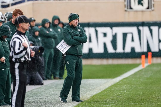 Michigan State coach Mark Dantonio watches a play against Penn State during the first half at Spartan Stadium in East Lansing, Saturday, October 26, 2019.