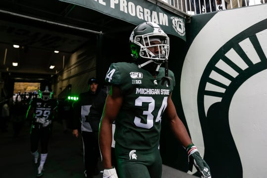 Michigan State running back Anthony Williams Jr. walks out of the tunnel before the Penn State game at Spartan Stadium in East Lansing, Saturday, October 26, 2019.
