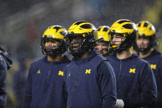 Michigan Wolverines warmups before action against Notre Dame, Saturday, Oct. 26, 2019 at Michigan Stadium in Ann Arbor.