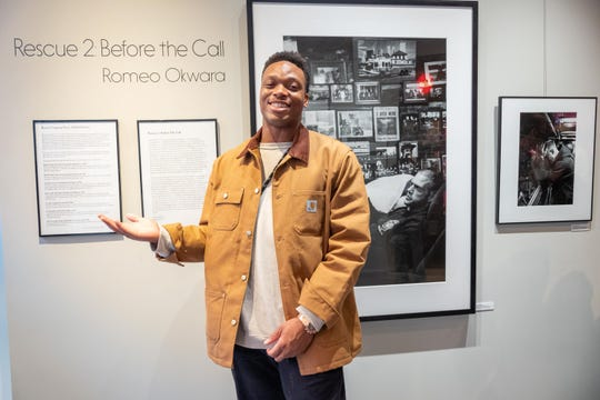 "Detroit Lions defensive end Romeo Okwara at the opening of his black-and-white photo exhibit, ""Rescue 2: Before the Call"" at Leica Store SoHo in New York on Sept. 10, 2019."