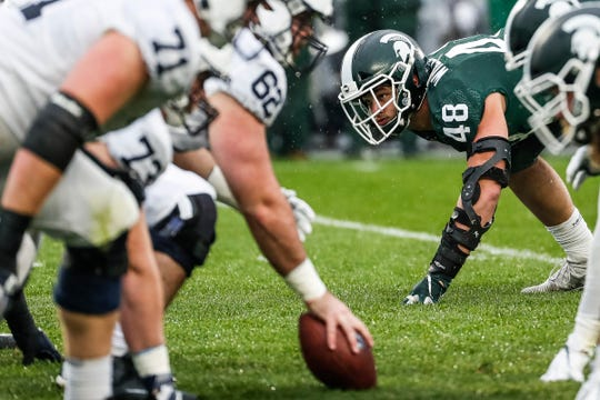 Michigan State defensive end Kenny Willekes (48) looks up before a snap during the first half against Penn State at Spartan Stadium in East Lansing, Saturday, October 26, 2019.