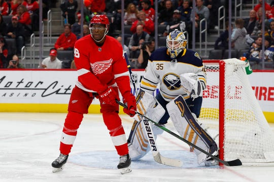Red Wings right wing Givani Smith (48) made his NHL debut against the Sabres on Friday night.