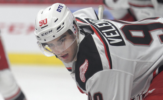 First-round pick Joe Veleno scored his first AHL goal against Manitoba on Friday.