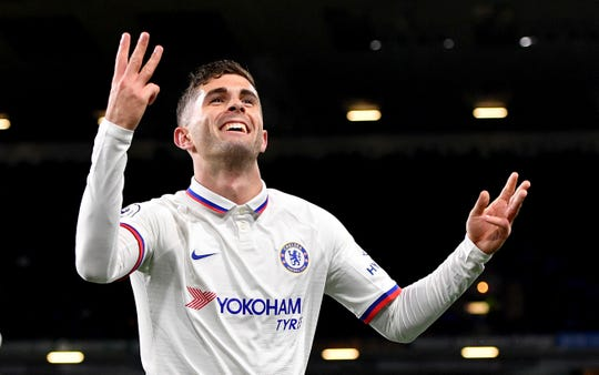 Chelsea's Christian Pulisic celebrates scoring his side's third goal during the English Premier League soccer match Saturday at Turf Moor, Burnley, England