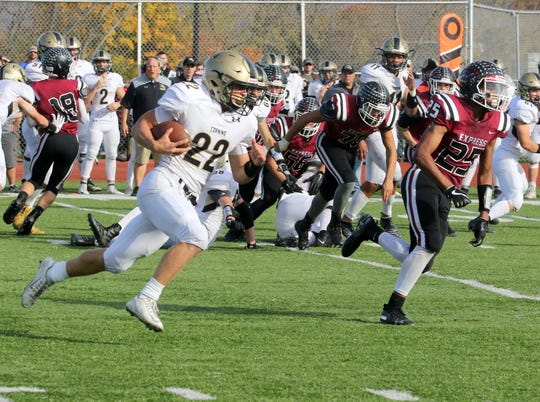 Max Freeman of Corning runs for a big gain against Elmira on Oct. 26, 2019 at Ernie Davis Academy.
