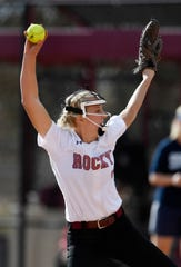 Rocky Mountain's Kylie Harpman (8) pitches in the third inning during the semifinals of the 5A state softball tournament in Aurora, Colo. on Saturday, Oct. 26, 2019.