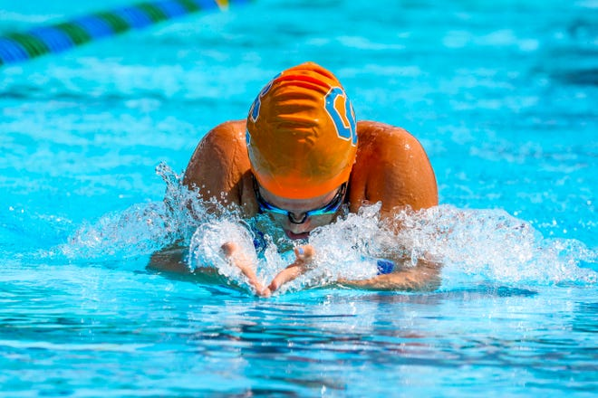 Nicole Rodriguez, Cape Coral, in the the 200 Yard IM. District 2A-6 swimming and diving meet held at FGCU, Saturday, October 26, 2019.
